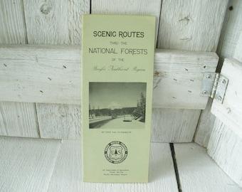 Vintage map National Forest Scenic Routes Pacific Northwest Oregon Washington folded 1960- free shipping US
