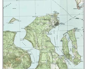 Port Townsend - ca. 1939  - USGS Old Topographic Map  Custom Composite Washington