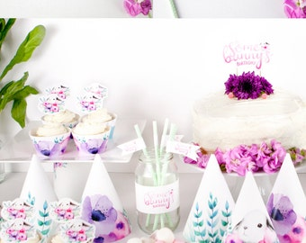"Bunny Party ""It's Some Bunny's Birthday"" Printable Party Pack - Watercolour Party Hats, Cake Topper, Straw Flags, Cupcake Wrappers & more"