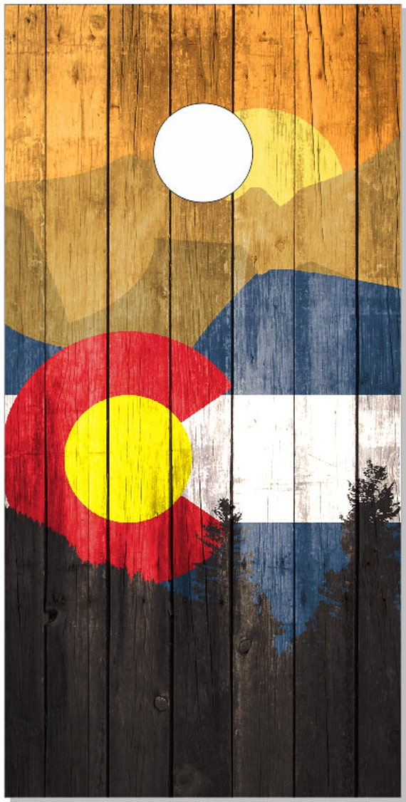 Colorado flag mountains cornhole wrap bag toss decal baggo skin sticker wraps
