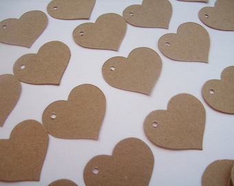 Heart Tags, Price Tags, Set of 100, Gift Tags, Wedding Favors, Shower Tag