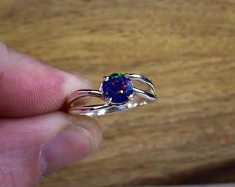 Opal Ring, Blue Opal Ring, Black Opal Ring, Black Opal Jewelry, Faceted Opal Ring, Black Gemstone Ring, Dark Opal, Promise Ring, Dark Blue
