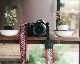 Diamond Flower with Red - Camera Strap