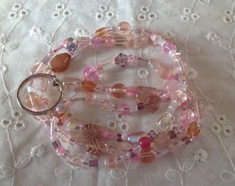 Many Shades of Pink Glass Beaded Lanyard ID Badge Holder