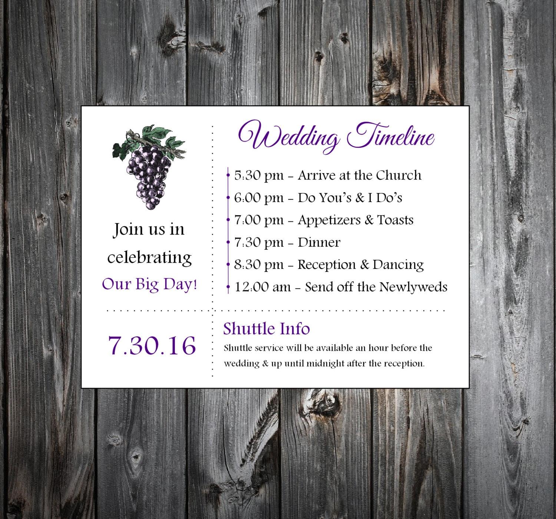 Wine Rustic Vineyard 100 Personalized and Printed Timelines. Wedding ...