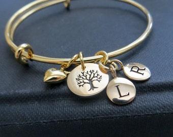 Tree charm bracelet etsy mom birthday gift tree of life bangle bracelet family initial charm personalized jewelry mozeypictures Images