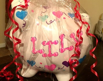 girls hearts  handpainted piggy bank personalized with name