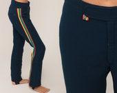 70s Ski Pants Snowsuit BELL BOTTOM Pants Roffe Skiwear Ski Suit Snow Pants Hippie Vintage Boho Retro Navy Blue Small 4 6 28