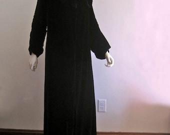 1920s Flapper Coat / Cocoon Coat / Black Silk Velvet / Ruching / Small MED