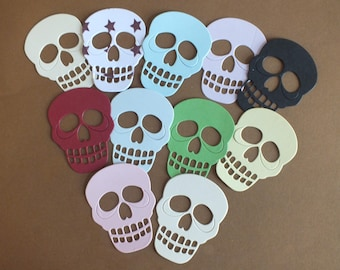 12 Skull die cut shapes ssorted colours