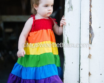 READY TO SHIP - Rainbow Dress for 12 to 18 months, Rainbow Twirl Dress, Rainbow Sundress, Baby Girl, Toddler Size 12 - 18 months Brony Dress