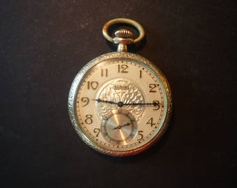 Vintage Elgin Open Faced Pocket Watch dual dials Jewel Movement  works beautifully - gold filled - 1920 retro self winding watch
