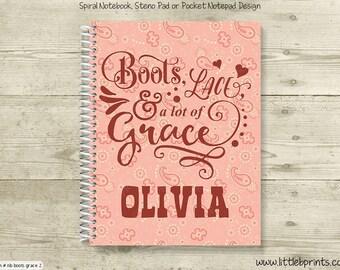 Boots Lace Grace Bandana Personalized Spiral Notebook Journal Prayer Journal Diary