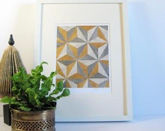 Original Book Paper Collage - Alice Reconstructed No3 - Metallic Gold Stars - Silver Wall Decor - Grey Modern Art - Paper Anniversary