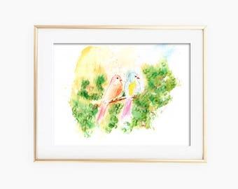 Two Birds on Branch, Birds Painting, Birds Watercolor, Birds Wall Art, Birds Art Print, Watercolor Painting, Printable Wall Art, Birds Art