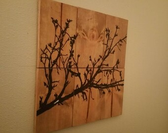 Rustic 6 panel wall decor with glow-in-the-dark accents