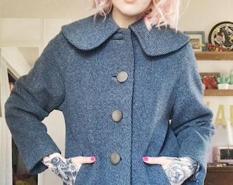 Vintage 50s blue large collar coat