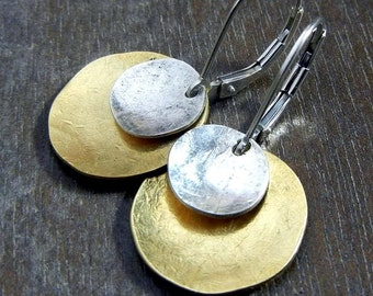 ECLIPSE Hammered Sterling Silver & Brass Coin Earrings
