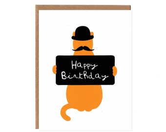 Happy Birthday Cat Card -- Mustache and Bowler Hat