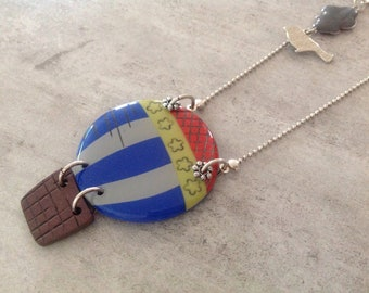 HOT AIR BALLOON balloon blue polymer clay necklace