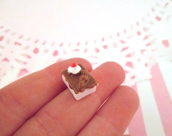 White and Chocolate Cake Cabochons Miniature Pastries, #160