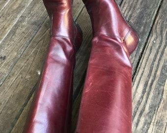 Vintage Oxblood Leather Etienne Aigner Flat Boots size 8