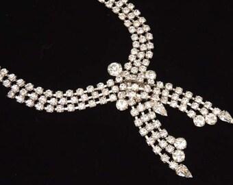ART DECO Rhinestone Necklace, Vintage Rhinestone Bridal Necklace, Cascading Rhinestone Necklace, Vintage Wedding Necklace, Bridal Jewelry