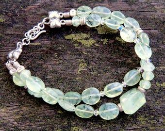 Yoga Jewelry, Yoga Bracelet, Healing Bracelet, Heart Chakra Bracelet, Faceted Prehnite, Gemstone Bracelet, Double Strand Bracelet