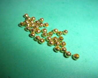 Set of 10 tiny gold metal, 3 mm beads