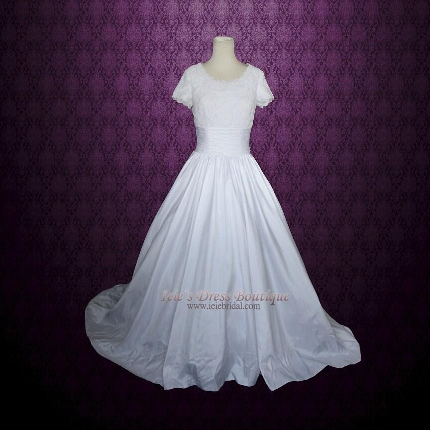 Modest Ball Gown Wedding Dress with Short sleeves Modest