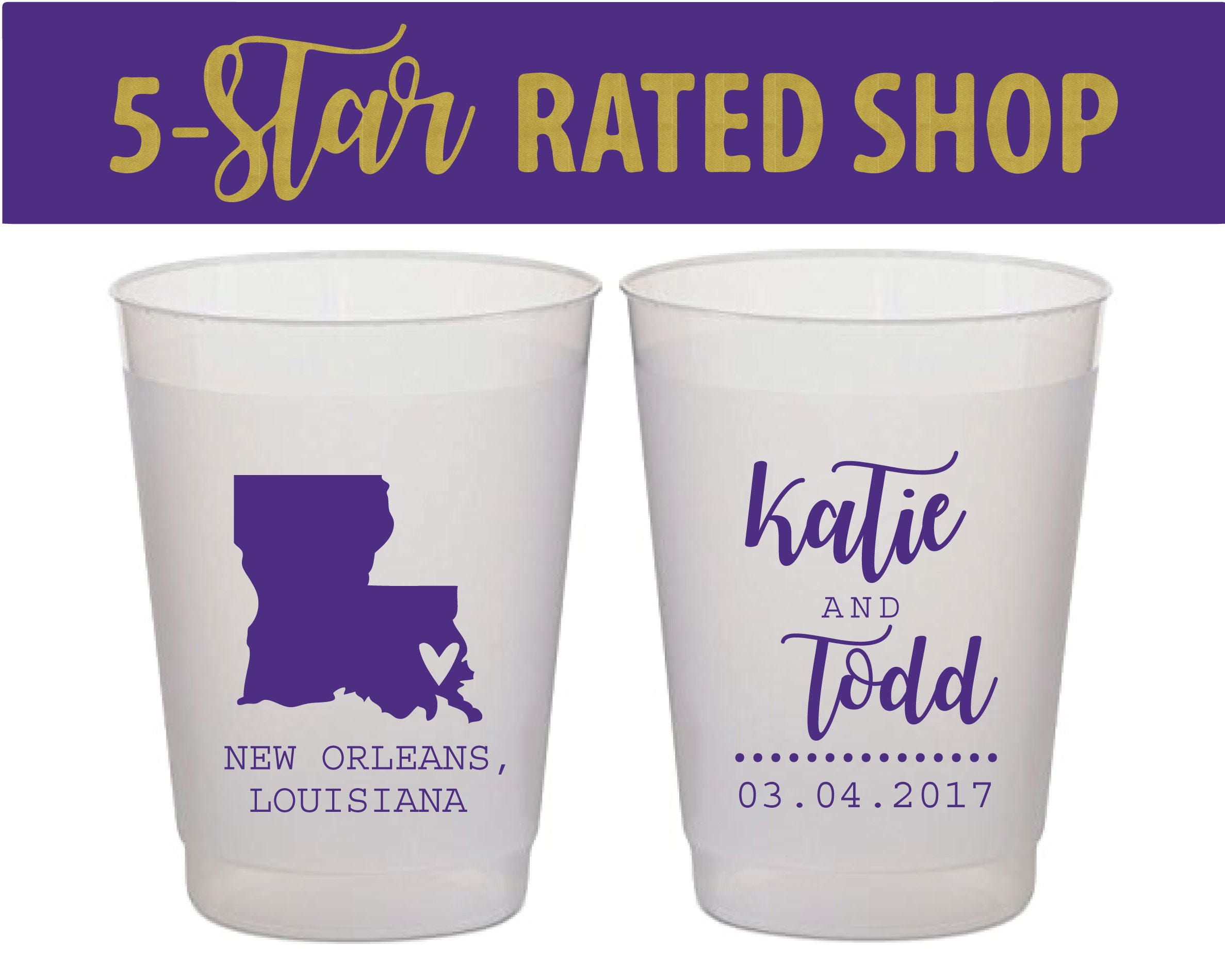 New Orleans Frosted Cups NOLA Wedding Cajun Wedding