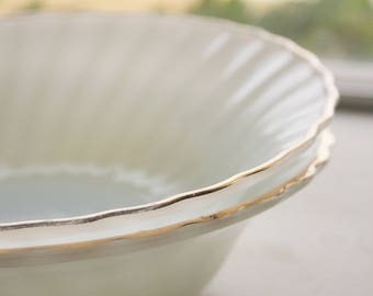 Gold Leafed Milk Glass Bowls,
