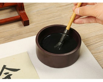 Free Shipping Chinese Calligraphy Material 10.1x4.1cm Natural Stone Chinese Inkstone  Wooden Lid Cover - 0092 Orientalartmaterial Supply