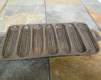 antique Cast Iron CORN BREAD PAN ; 7 section ; 7 Sc * Usable or wall hanger  decor
