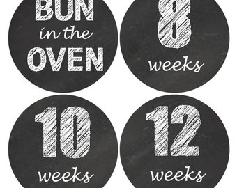 16 Pregnancy stickers, Baby Bump stickers, Maternity Weekly Sticker, Pregnancy Announcement, Chalkboard sticker, Black White Stickers, B201