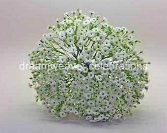 CECILLE. Baby's Breath, Silk flower Bridal Bouquet, Wedding accessories.
