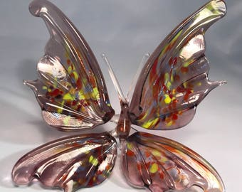 Purple mix color glass butterfly