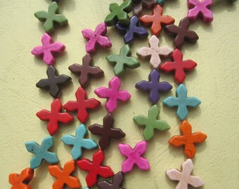 5 Str -Assortment Colors Howlite Cross Beads 20x20mm- 20pcs/Strand