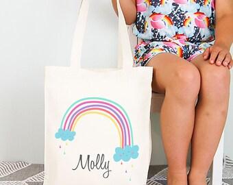 Rainbow Girls Personalised Library Tote Bag