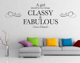 WD101165 | A girl should be two things: Classy & Fabulous - Coco Chanel Wall Quote, Wall Art Sticker