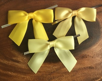 12 Daffodil, Buttercream, or Canary Yellow Pre-made Bow Embellishments