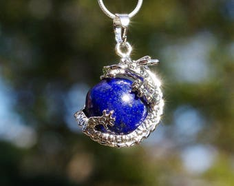 Lapis Lazuli Healing Stone Dragon Pendant Necklace on a Sterling Silver Chain ~ Blue Ball ~ Make Believer ~ Healing Stone ~ Chinese New Year