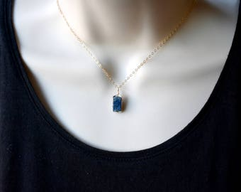 Raw sapphire pendant etsy raw sapphire necklace sapphire pendant aloadofball Image collections