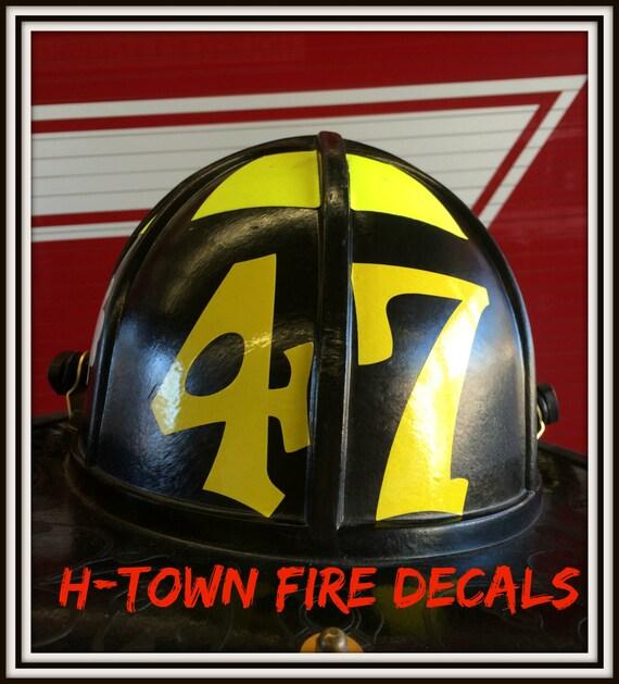 Fire Helmet Decal Sticker Reflective Station - Custom reflective fire helmet decals