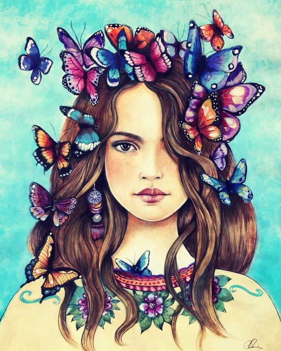 Butterflies on her mind.