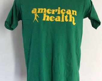 Vtg 70s American Health T-Shirt Green S/M Sportswear 50/50