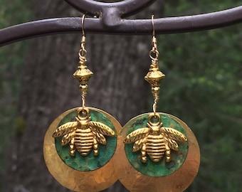 Honeybee earrings, insect earrings, bee earrings, nature earrings, hammered brass, mixed metal, dangle earrings, wire wrapped
