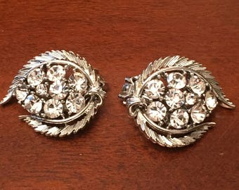 Lisner Silver Tone Clip On Earrings with Clear Rhinestones