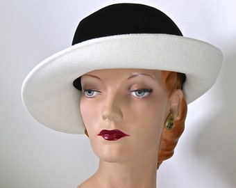 White and Black Womens Fedora, Fur Felt Womens Hat, Winter Felt Women Fedora