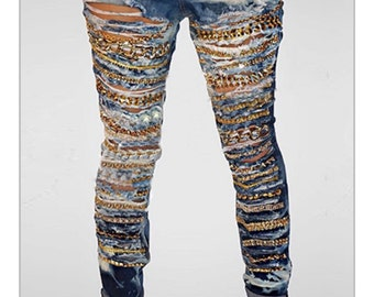 Custom distressed bleached and cut up jeans with chains